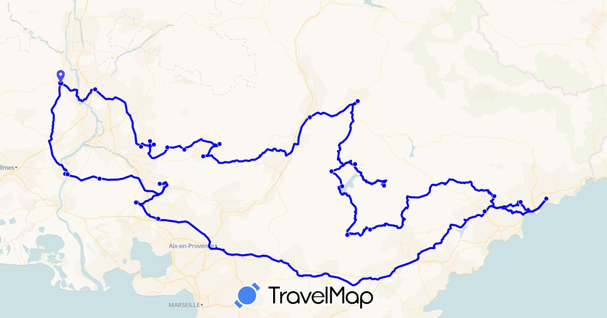 TravelMap itinerary: driving, 2016 in France (Europe)